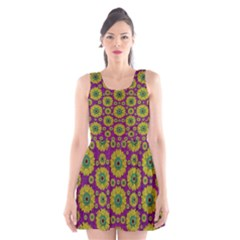Sunroses Mixed With Stars In A Moonlight Serenade Scoop Neck Skater Dress