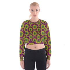 Sunroses Mixed With Stars In A Moonlight Serenade Women s Cropped Sweatshirt