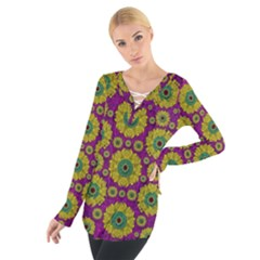 Sunroses Mixed With Stars In A Moonlight Serenade Women s Tie Up Tee
