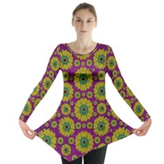 Sunroses Mixed With Stars In A Moonlight Serenade Long Sleeve Tunic