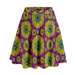 Sunroses Mixed With Stars In A Moonlight Serenade High Waist Skirt
