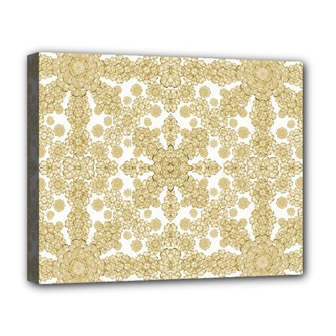 Golden Floral Boho Chic Deluxe Canvas 20  x 16