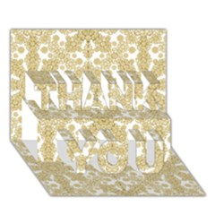 Golden Floral Boho Chic THANK YOU 3D Greeting Card (7x5)