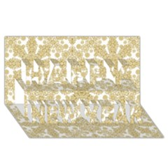 Golden Floral Boho Chic Happy New Year 3d Greeting Card (8x4)