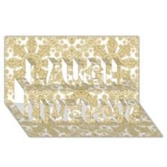 Golden Floral Boho Chic Laugh Live Love 3D Greeting Card (8x4)