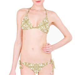 Golden Floral Boho Chic Bikini Set
