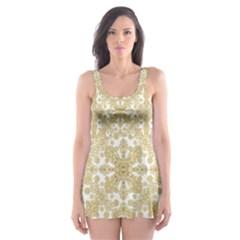Golden Floral Boho Chic Skater Dress Swimsuit