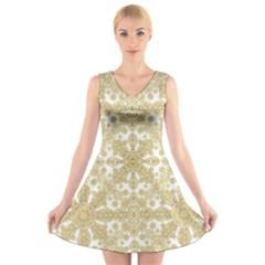 Golden Floral Boho Chic V Neck Sleeveless Skater Dress
