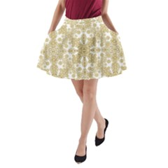Golden Floral Boho Chic A-Line Pocket Skirt