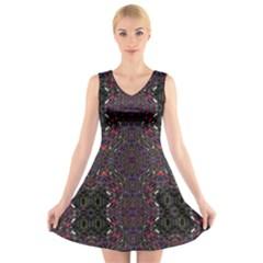 Royal V Neck Sleeveless Skater Dress