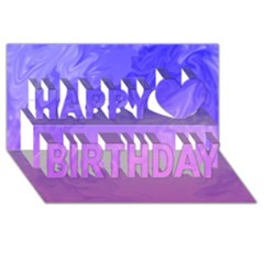 Ombre Purple Pink Happy Birthday 3D Greeting Card (8x4)