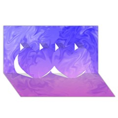Ombre Purple Pink Twin Hearts 3D Greeting Card (8x4)