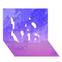 Ombre Purple Pink LOVE 3D Greeting Card (7x5)