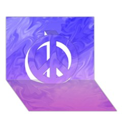 Ombre Purple Pink Peace Sign 3D Greeting Card (7x5)