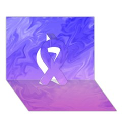 Ombre Purple Pink Ribbon 3D Greeting Card (7x5)