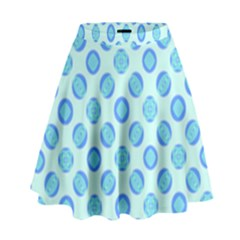 Pastel Turquoise Blue Retro Circles High Waist Skirt