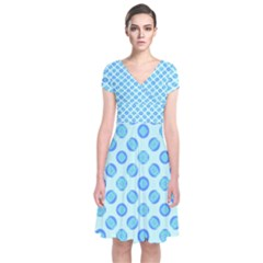 Pastel Turquoise Blue Retro Circles Wrap Dress