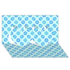Pastel Turquoise Blue Retro Circles Twin Hearts 3D Greeting Card (8x4)