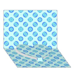 Pastel Turquoise Blue Retro Circles Heart Bottom 3D Greeting Card (7x5)