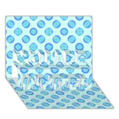 Pastel Turquoise Blue Retro Circles YOU ARE INVITED 3D Greeting Card (7x5)