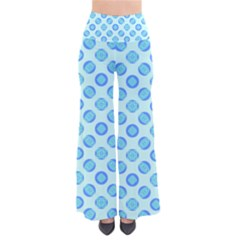 Pastel Turquoise Blue Retro Circles Women s Chic Palazzo Pants