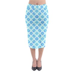 Pastel Turquoise Blue Retro Circles Midi Pencil Skirt