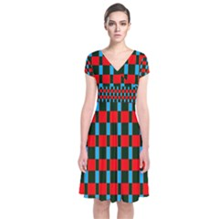 Black Red Rectangles Pattern                         Short Sleeve Front Wrap Dress