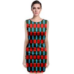 Black red rectangles pattern             Classic Sleeveless Midi Dress