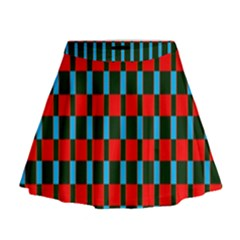 Black Red Rectangles Pattern                                                            Mini Flare Skirt