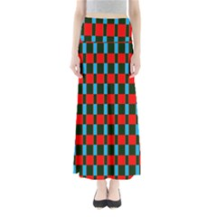 Black Red Rectangles Pattern            Women s Maxi Skirt
