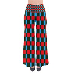 Black Red Rectangles Pattern                                         Women s Chic Palazzo Pants