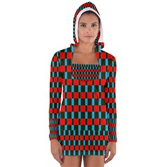 Black red rectangles pattern                                                          Women s Long Sleeve Hooded T-shirt