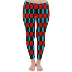 Black red rectangles pattern                                                          Winter Leggings