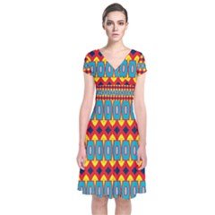 Rhombus And Other Shapes Pattern                           Short Sleeve Front Wrap Dress