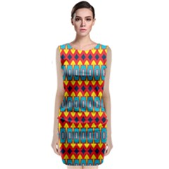 Rhombus And Other Shapes Pattern               Classic Sleeveless Midi Dress