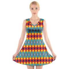 Rhombus and other shapes pattern                                                        V-Neck Sleeveless Dress