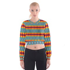 Rhombus and other shapes pattern                                                              Women s Cropped Sweatshirt