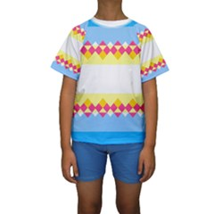 Rhombus and stripes                                                              Kid s Short Sleeve Swimwear