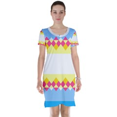 Rhombus and stripes                                                             Short Sleeve Nightdress