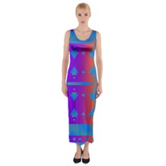 Triangles Gradient                                                             Fitted Maxi Dress