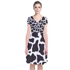 Cow Pattern Wrap Dress