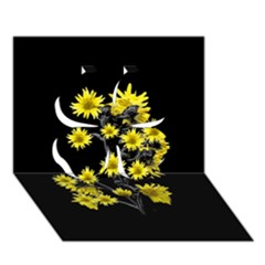 Sunflowers Over Black Clover 3d Greeting Card (7x5)