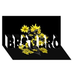 Sunflowers Over Black BEST BRO 3D Greeting Card (8x4)