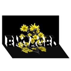 Sunflowers Over Black ENGAGED 3D Greeting Card (8x4)