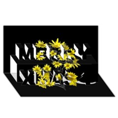 Sunflowers Over Black Merry Xmas 3D Greeting Card (8x4)