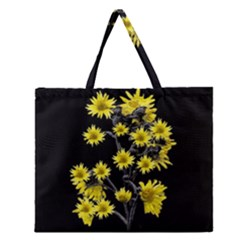Sunflowers Over Black Zipper Large Tote Bag