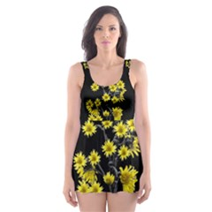 Sunflowers Over Black Skater Dress Swimsuit
