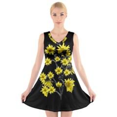 Sunflowers Over Black V Neck Sleeveless Skater Dress