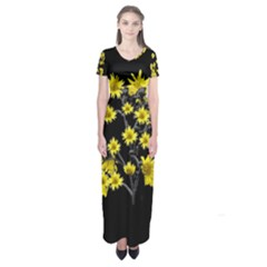 Sunflowers Over Black Short Sleeve Maxi Dress