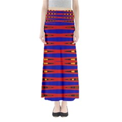 Bright Blue Red Yellow Mod Abstract Maxi Skirts